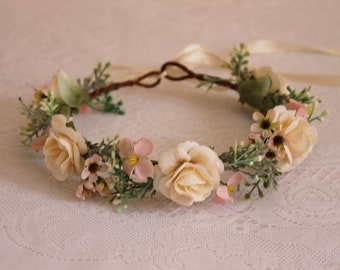 White roses and Pink flowers flower crown/ beauty, spring, summer, leaves, hair, angel, wedding