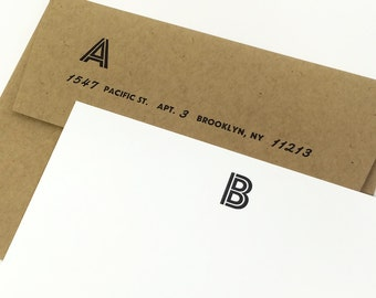 Personalized Stationery. Custom Letterpress Note Cards Personalized Letterpress Initial Stationery. Personalized Wedding Gift. GRANBY Style.