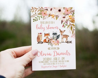 Woodland Baby Shower Invitation girl, deer baby shower invites, baby shower invitations, woodland forest animals, printed, digital
