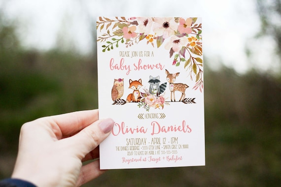 Woodland baby shower invitation girl deer baby shower like this item filmwisefo Images