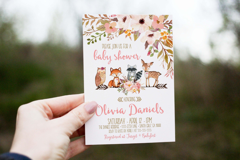 Woodland Baby Shower Invitation girl deer baby shower