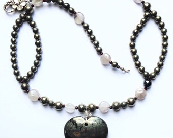 21 Inch Pyrite Beaded Necklace With Pyrite Heart Pendant