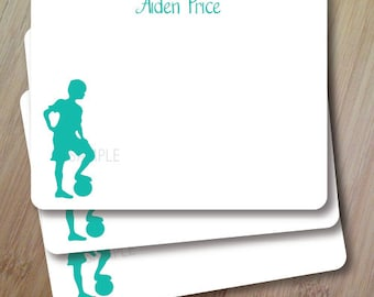 Let's Play Soccer, Personalized Stationary, Silhouette Flat Note Cards, Set of 10, Professionally Printed