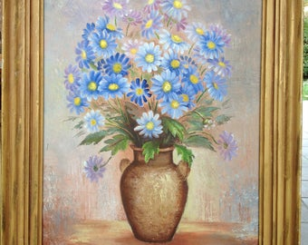 Beautiful painting of flowers color blue - beautiful - 55 x 42 cm