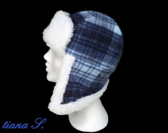 Fur Cap diamonds, blue and white, size S