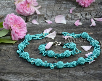 Handmade Jewelry set, Bead embroidery jewelry, Beaded necklace, Beaded jewelry Set, Neutral Necklace Set