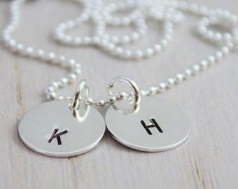 initials necklace, hand stamped mothers necklace, personalized initial discs, stamped initials, 2 initials necklace, push present new mom