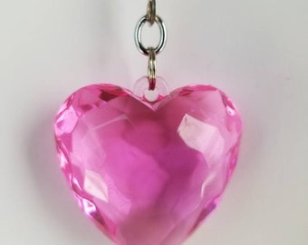 Pink Jeweled/Gem Heart Ceiling Fan / Light Pull Chain Silver Beaded Pull Chain