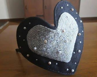 Jeans beaded heart headband