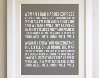 Framed lyrics print tom odell grow old with me 20 colours