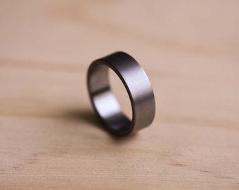 Brushed Tantalum Ring - Dark Blue Grey Tantalum