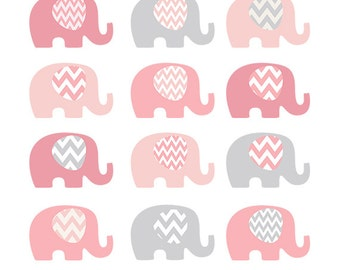 Pink Elephants Clip Art - Pink and Grey Chevron Baby Shower Clip Art -  Style CL1507 - Baby Girl Clip Art - Elephant Illustration
