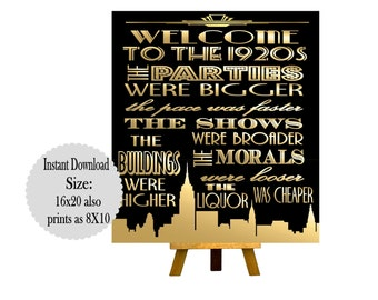 PRINTABLE Welcome to the 1920s ,Gatsby party decoration, Roaring 20s Art deco, Gatsby Printables, Wedding Decor, Gatsby Wedding Signs