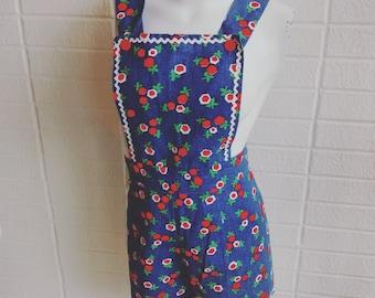 Vintage 1960's floral print light weight denim look cotton overall shorts/romper playsuit bric a brac trim s/m