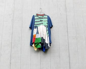 Upcycled Dress, Sporty, Stripe, Recycled Shirt, Repurposed Clothing, Fun Clothes, Navy Blue, Sustainable Clothing, Lagenlook