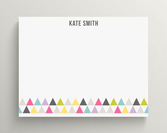 modern triangles note card, triangle stationery, colorful modern stationery, stationery gift