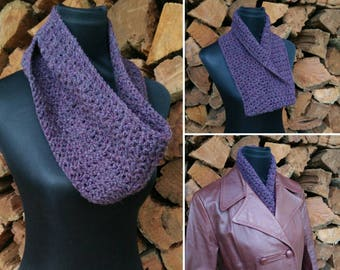 Infinity scarf purple - acrylic wool blend (80/20) - woman's winter fashion scarf, single loop, circle scarf, cowl, snood