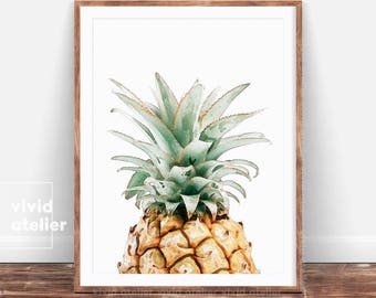 Pineapple Print, Pineapple Wall Art Prints, Printable Kitchen Decor, Botanical Print, Tropical Watercolor Print, Printable Wall Art, Posters