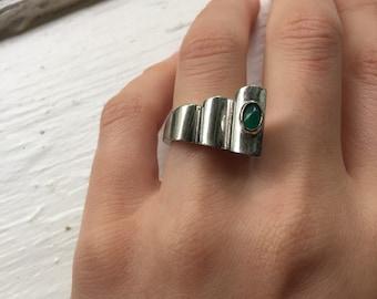 Sterling Silver Modernist Geomtric Ring green Chrysoprase