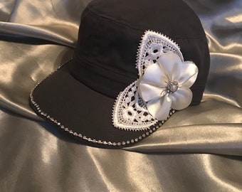 Cadet Hat, Gray Hats, bling Hats, Bling Hat, Military Hat, Womens Hats, Sworovski Crystal Hat, Hats, Flower Hats,