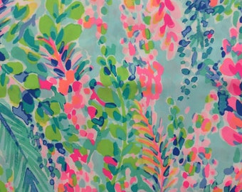 """multi catch the wave poplin cotton fabric square 18""""x18"""" ~ lilly spring 2018 ~ lilly pulitzer"""
