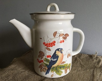 Soviet Vintage Enamel Tea or Water Kettle, With Lid, Titmouse Decor, made in USSR