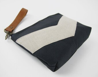 Oatmeal linen chevron dark navy pouch , Design by BagyBags