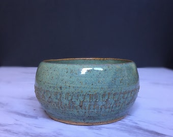 Textured Pottery Bowl - Hand Thrown Decorative Bowl