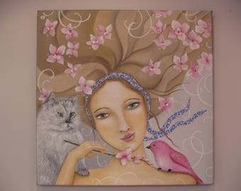 Painting, Lady Grey cat, flowery world, pink bird and flowers, romantic