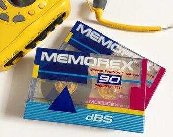 Vintage 1980s Memorex 90 minute Cassette Tape NOS / Set Prop Display, I Love the 80s, Mixed Tape Nostalgia