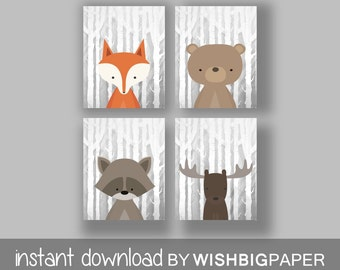 WOODLAND Animals Wall Art Print-Set of Four (4) - Digital Download. Woodland Creatures Wall Art Printable. Forest Friends Printable. Animal