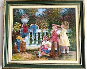 Acrylic - children in the garden