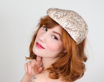 1950s vintage hat / beaded cocktail hat / Norman Durand