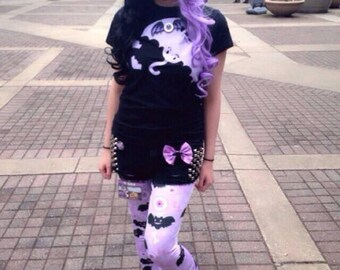 Eyeball Bone Creepy Cute Bat Leggings, Bat Leggings, Pastel Goth Leggings, Lavender Eyeball Leggings