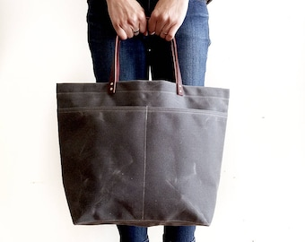 Gray Market Tote, Waxed Canvas Bag, Waxed Canvas Tote, Canvas Tote Bag, Carry All, Diaper Bag, Handbag, Minimalist Style, Simple Tote