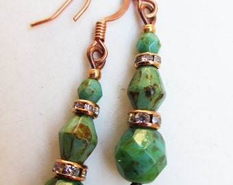 Green and Copper Picasso Bead Earrings