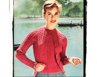 Instant Download PDF Knitting Pattern to make a Womens Cable Cardigan Short Sleeve Sweater Twinset 3 Sizes 4 Ply Yarn 32 to 42 inch Bust
