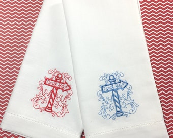 North Pole Christmas Napkins, North Pole cloth napkins, christmas napkins, christmas embroidered napkins, North Pole gift, christmas table