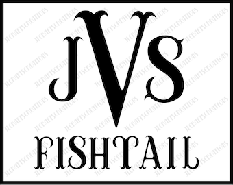 Sale! Fishtail Alphabet Font SVG Collection - Fishtail Monogram DXF - Mermaid Monogram Clipart - File for Silhouette Cameo or Cricut