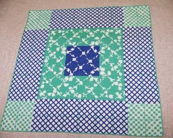 Vintage Blue & Green Print Hanky with Interesting Design