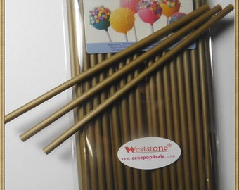 """Gold and Silver - 50pcs 6"""" or 4"""" x 5/32"""" Plastic  Lollipop Sticks for Cake Pops"""
