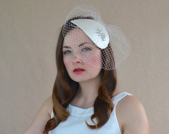 Bridal Duchess Silk Fascinator with Birdcage veil and Swarovski Crystals - Bridal Fascinator - Ivory Cocktail Hat - Birdcage Veil Fascinator