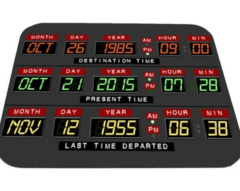 Back to the Future Mousepad Homage Clock Date Panel
