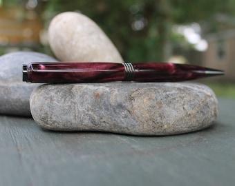 Hand Turned Acrylic Pen : Plum Swirl