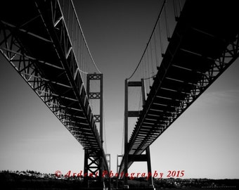 Two Bridges Black and White Landscape Photography Northwest Art Tacoma Washington Narrows Bridges Gig Harbor - Progress - Art Photography