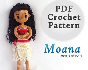 Crochet Doll Pattern / Amigurumi Doll Pattern / Moana Princess Inspired Crochet Doll Pattern / PDF Crochet Doll Pattern / Instant Download