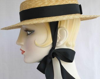 Gigi Straw Boater with Black Ribbon Ties, Straw Hat, Millinery, Edwardian