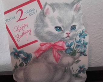 Vintage 1950's Flocked folded Kitty Cat Happy Birthday 2 year old Sapphire Card USA
