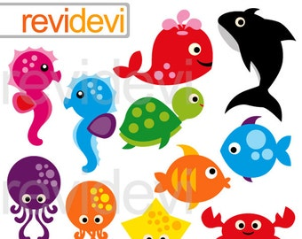 Sea animals clipart,  commercial use clip art,  Under the sea clipart digitals, instant download