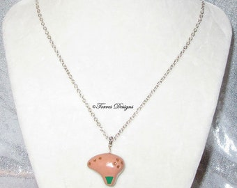 Custom Hand Sculpted Fairy Ocarina Necklace Pendant Legend of Zelda Ocarina of Time by TorresDesigns Ready To Ship